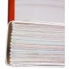 Encuadernación cosida: las portadas se unen mediante hilos, el espacio hueco hasta el lomo se rellena con cola