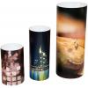 expositor con forma de cilindro; disponible en tres tamaños distintos