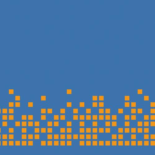 píxeles naranjas sobre azul