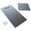 Soporte de metal autoadhesivo (2 unidades por placa). Dependiendo de las dimensiones de la placa y de su peso, se entrega con unas dimensiones de 10x 10cm o de 10x 20cm, incluido portaboquillas de goma autoadhesiva.