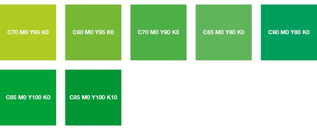 Colores CMYK: verde brillante, verde amarillento y verde