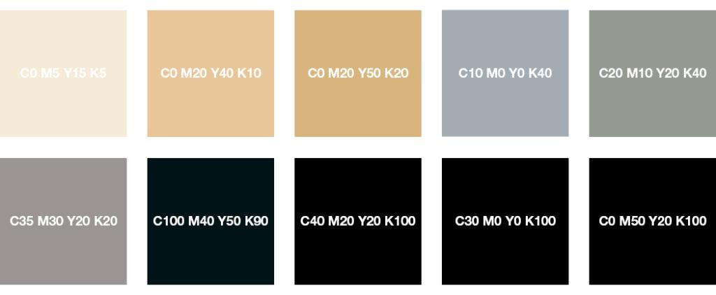 Colores CMYK: blanco crema, beige, gris plata, gris piedra, gris y negro intenso