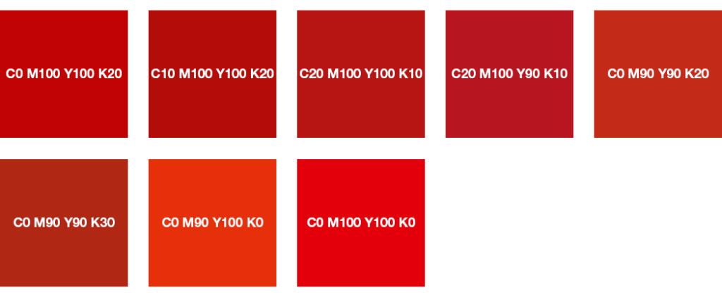 Colores CMYK: Rojo vivo, rojo señales, rojo coral y rojo brillante