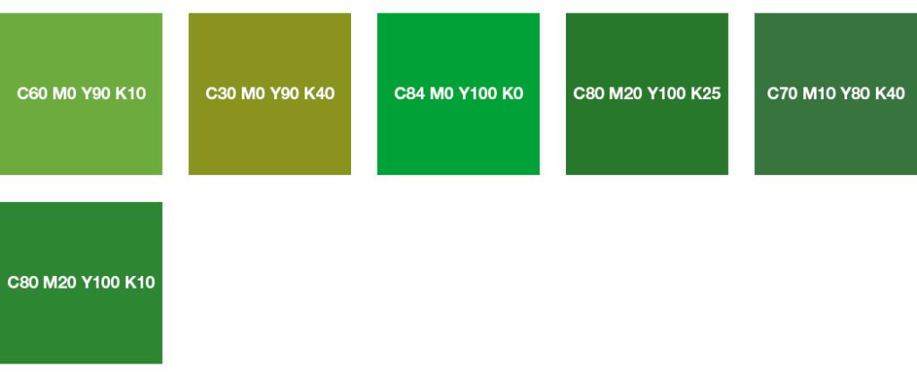 Colores CMYK: verde hierba y verde mayo