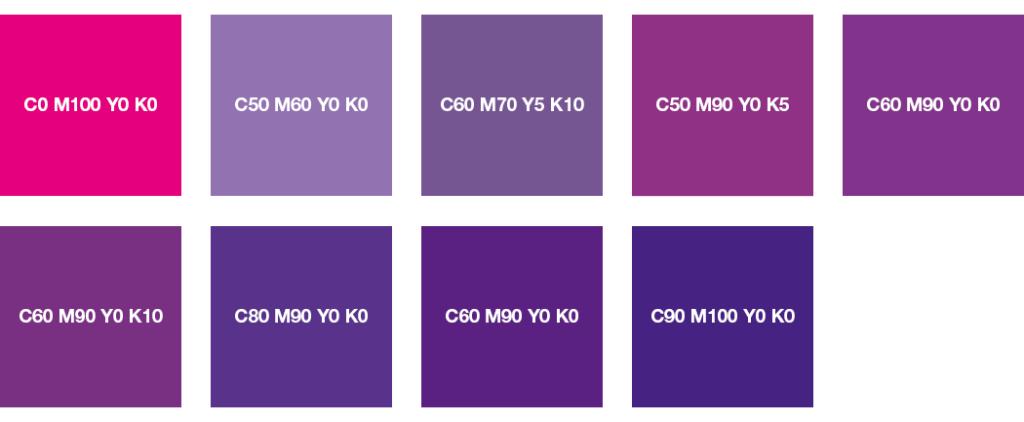 Colores CMYK: rosa, lila y violeta