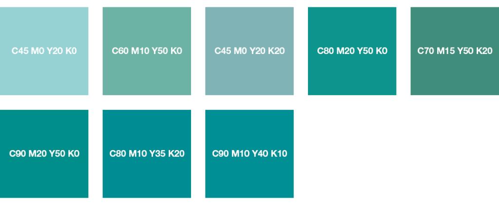 Colores CMYK: turquesa menta, turquesa pastel y turquesa