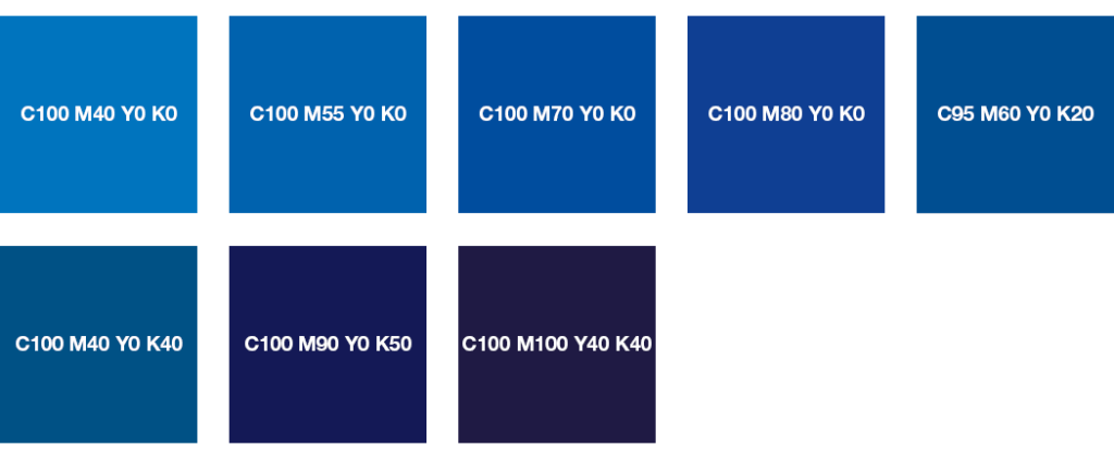Colores CMYK: azul puro y azul noche