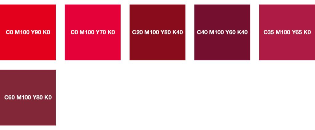 Colores CMYK: rojo puro y rojo vino