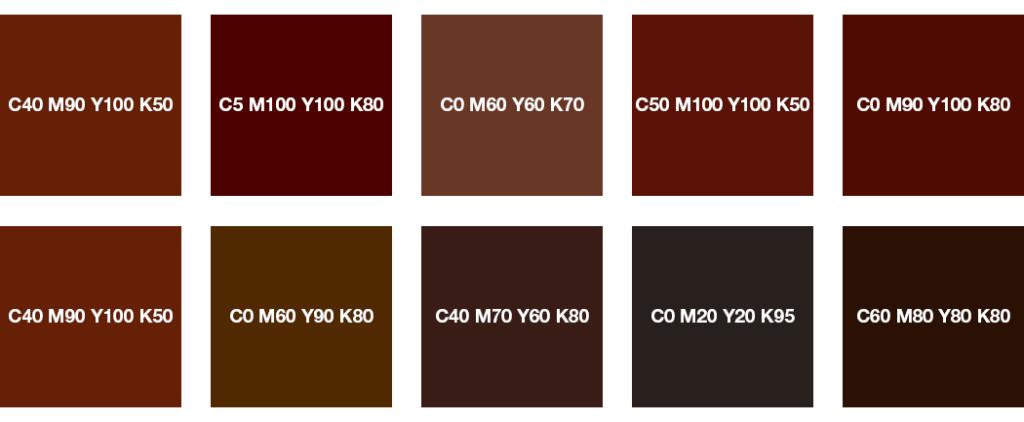 Colores CMYK: pardo rojo, castaño, chocolate y marrón