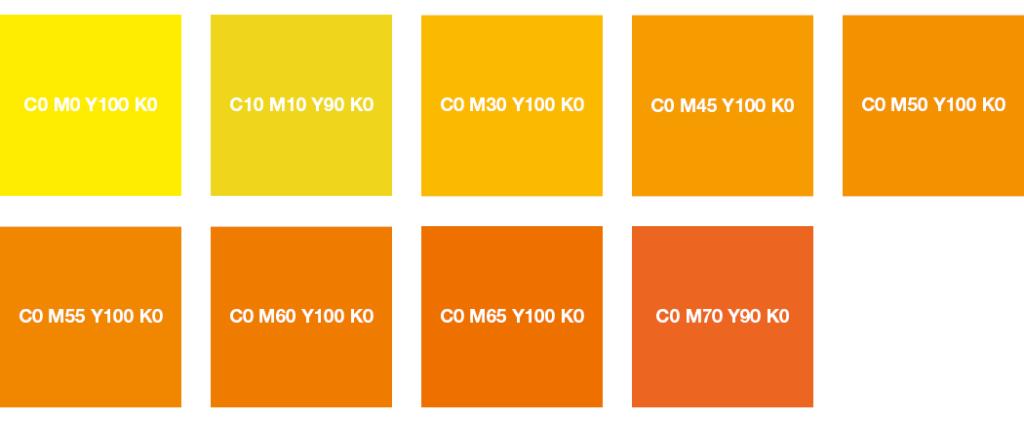 Colores CMYK: amarillo brillante, amarillo limón, naranja y naranja intenso