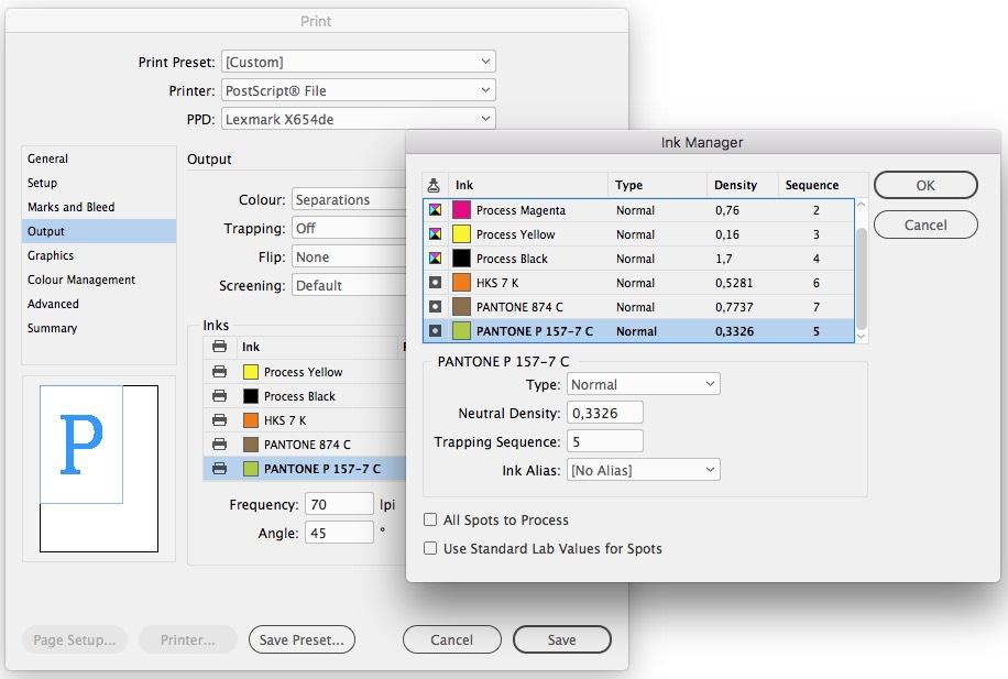 El menú de impresión y el administrador de tinta permiten convertir colores especiales en colores de cuatricromía.