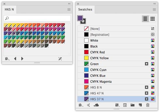 Los colores HKS en Illustrator son colores especiales globales, como se puede ver en el símbolo
