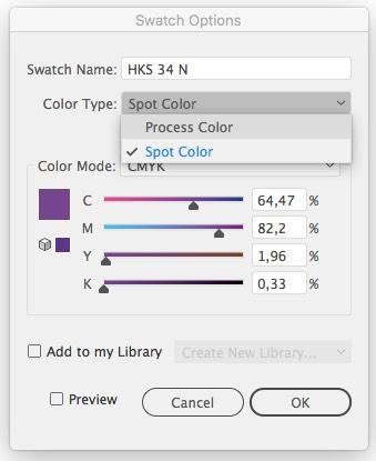 La transformación de un color especial en uno CMYK en Illustrator