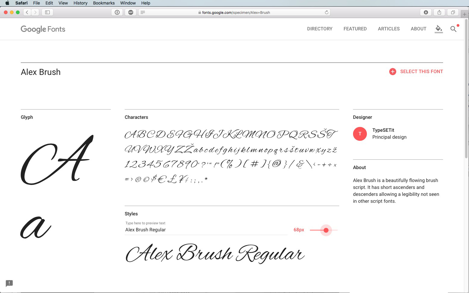Script Font Alex Brush Regular