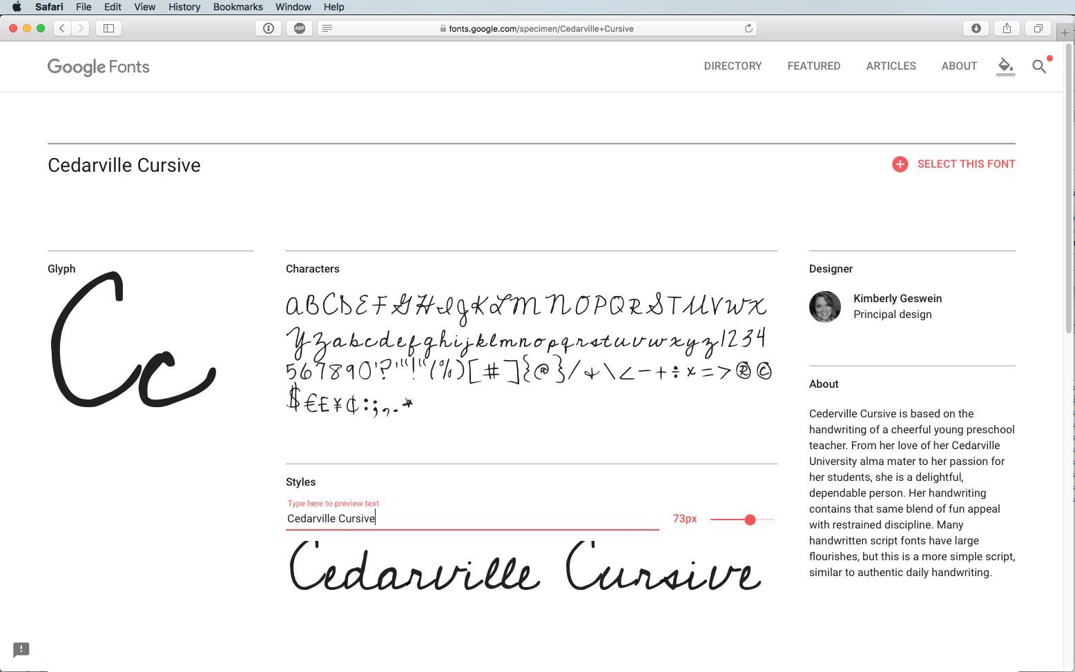 Script font Cedarville Cursive