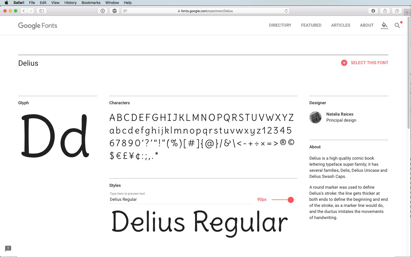Script Font Delius Regular