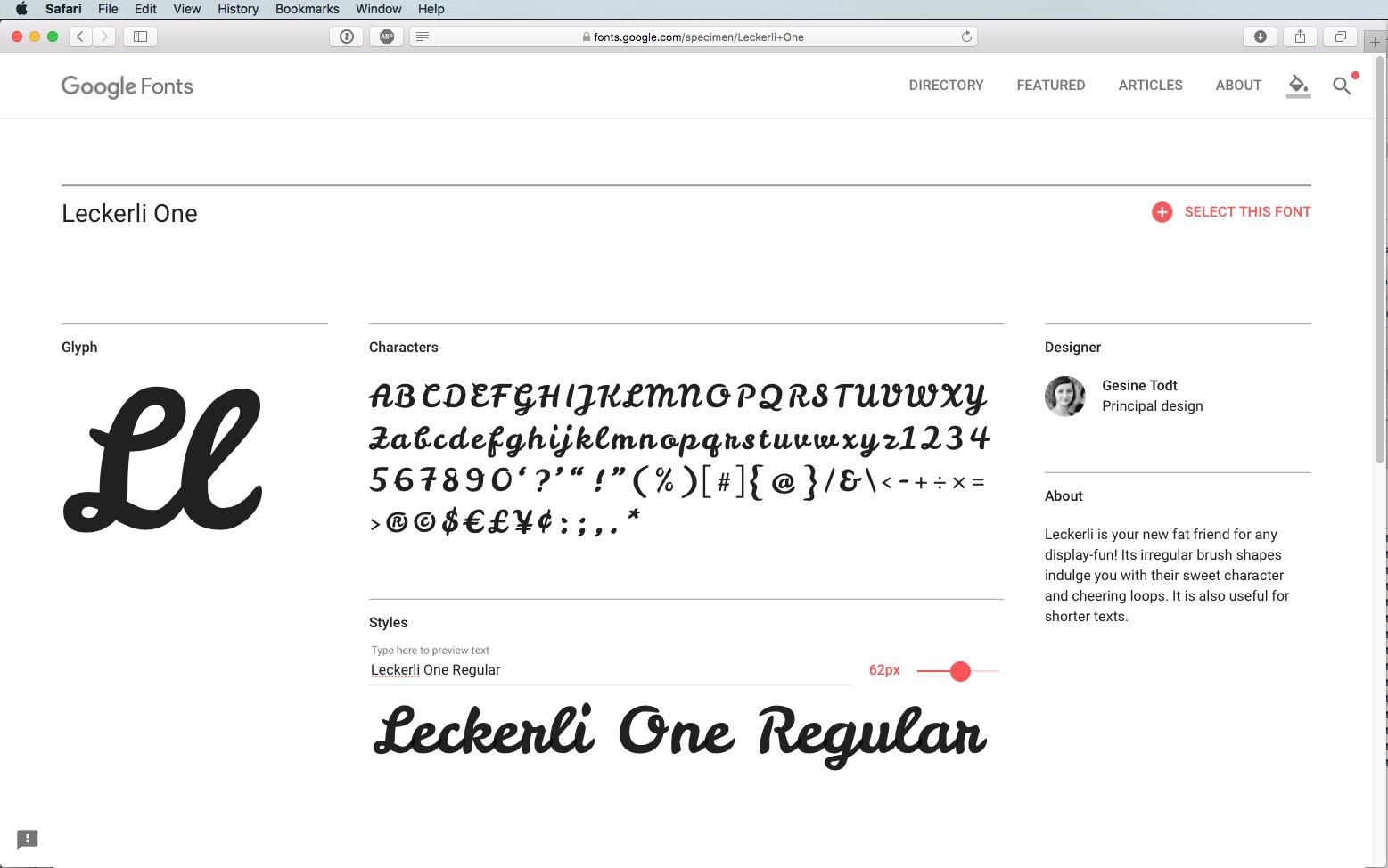 Script Font Leckerli One