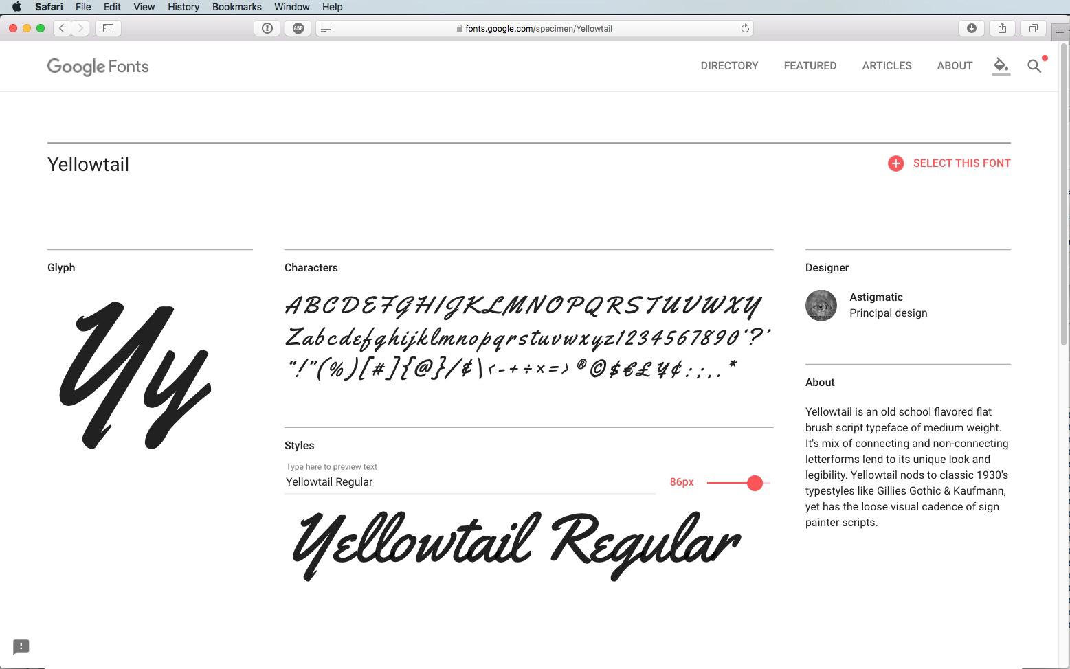 Script Font Yellowtail Regular